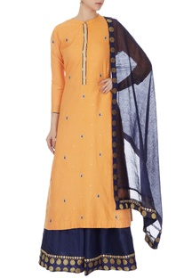 Mango yellow cotton silk embroidered kurta, skirt & dupatta