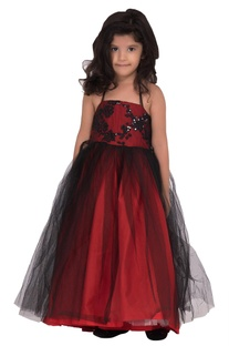 Burgundy red georgette embellished gown