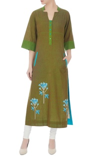 Green hand-block printed long kurta