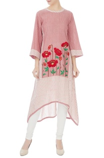 Red & white khadi cotton resham embroidered kurta