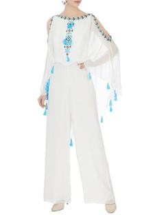 White cold-shoulder georgette jumpsuit