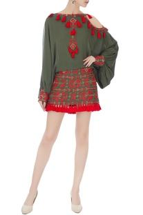 Khaki green tassel mini skirt