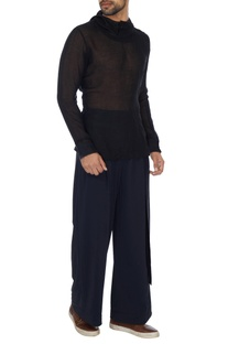 Black loose fit econyl trousers