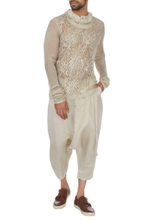 Cream chanderi lace cutout t-shirt