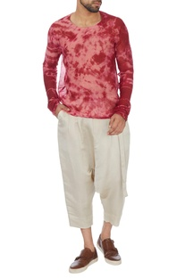 Red tie and dyed chanderi t-shirt