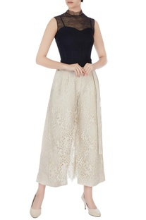 Beige layered lace culotte pants
