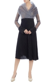 Black enonyl & organdy wrap blouse