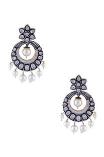Silver & white mixed metal victorian earrings