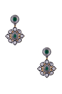 Silver, green & white mixed metal victorian earrings