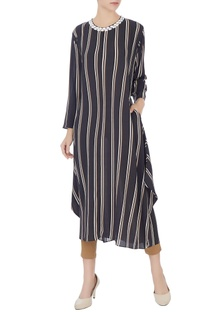 Black & cream stripe printed asymmetric tunic