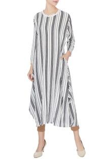 White & grey striped pattern long kurta