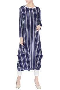 Blue & white stripe printed kurta