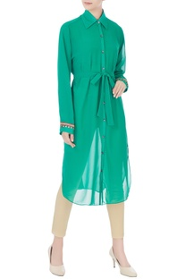 Green georgette tunic with tie-up belt & inner