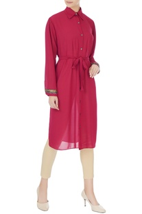 Deep pink georgette style tunic with belt & inner
