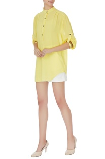 Yellow georgette chinese collar top