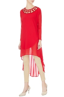 Red georgette high-low tunic