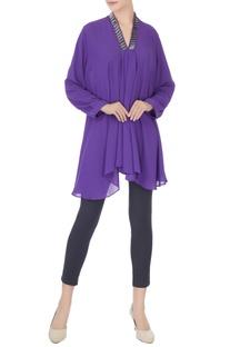 Purple stone embroidered neckline georgette tunic