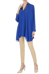 Royal blue georgette box pleated short tunic