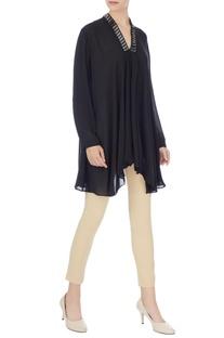 Black georgette box pleated short tunic