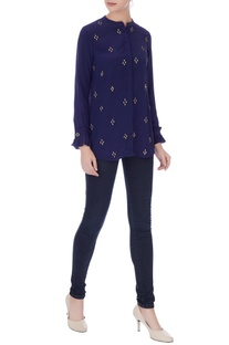 Navy blue crepe embroidered shirt