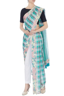 Blue handwoven linen checkered sari