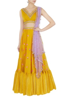 Yellow sandwash satin embroidered lehenga with dupatta set