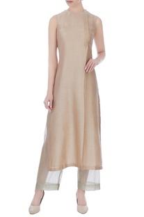 Beige sleeveless hand-woven chanderi tunic