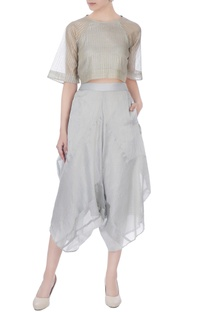 Icy blue chanderi silk stripe layered cropped pants