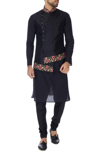 Black art khadi silk bundhi jacket