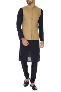 Beige matty fabric bandhi jacket