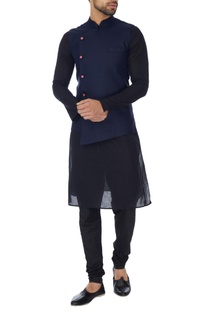 Navy blue cross-over jute bandhi jacket