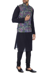 Grey floral printed nehru jacket