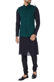 Bottle green nehru jacket
