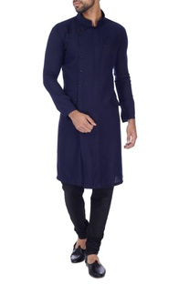 Navy blue cross-over button down kurta