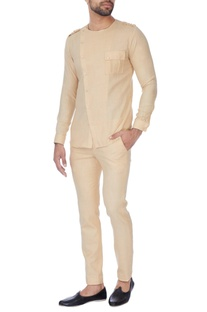 Beige cross-over shirt with pants