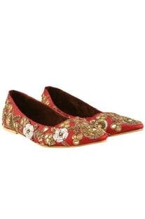 Maroon raw silk sequin embroidered ballet flats