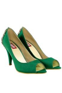 Emerald green swarovski brooch heels