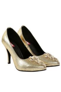 Gold d'orsay peep toe heels