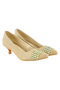 Gold jute heels with embellishments