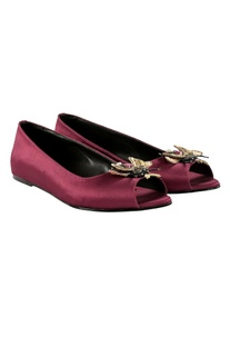 Purple peep-toe ballet flats