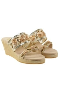 Beige & silver floral sequin slip-on wedges