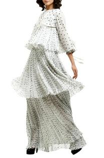 White cotton silk tiered maxi skirt