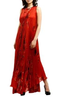 Red satin wrap-around asymmetric maxi dress