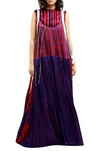 Multicolored printed cotton silk maxi dress