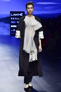 Off White & black crepe & organza embroidered tunic & trousers with black linen french knot jacket