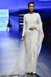Off white chanderi & organza applique pre-stitched sari with embroidered blouse