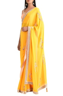 Sunrise orange georgette sari with blouse