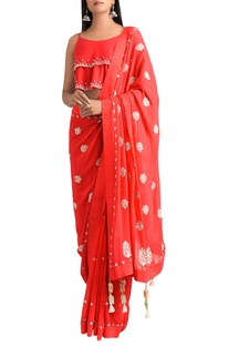 Red georgette sari with dupion silk cami blouse