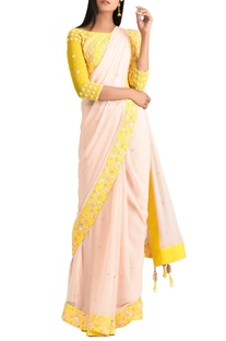 Yellow chiffon beaded sari with lycra satin blouse