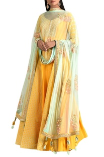 Sunrise orange dupion silk anarkali with dupatta & churidar